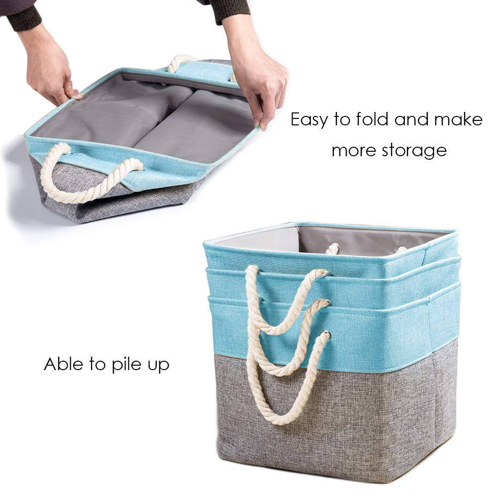 3-Pack /… Fabric Linen Collapsible Storage Bins Cubes Drawer with Cotton Handles Organizer for Shelf Toy Nursery Closet Bedroom Gray//Blue Prandom Large Foldable Cube Storage Baskets Bins 13x13 inch