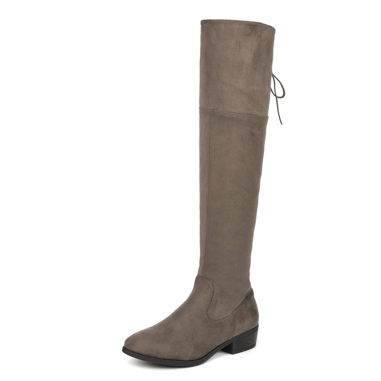 DREAM PAIRS Frauen-LEI Kniehohe Stiefel 8 B (M) US Damen Khaki 8 M US