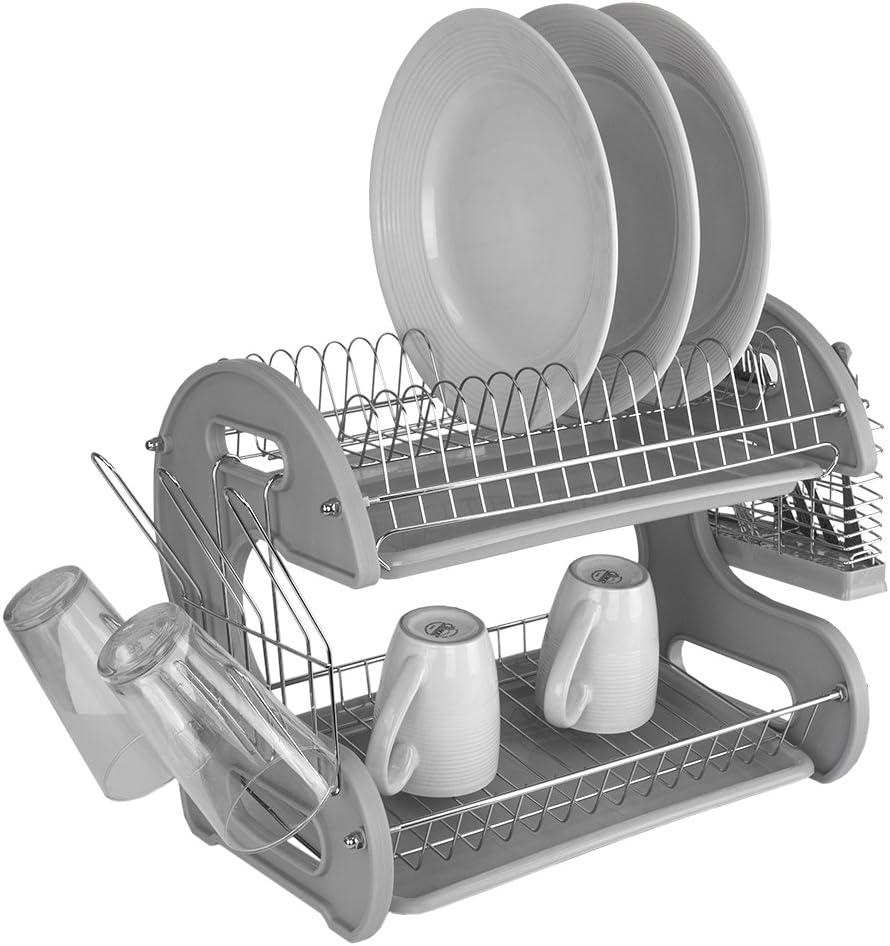 Home Basics Plastic 2-Tier Dish Drainer Rack (Grey)