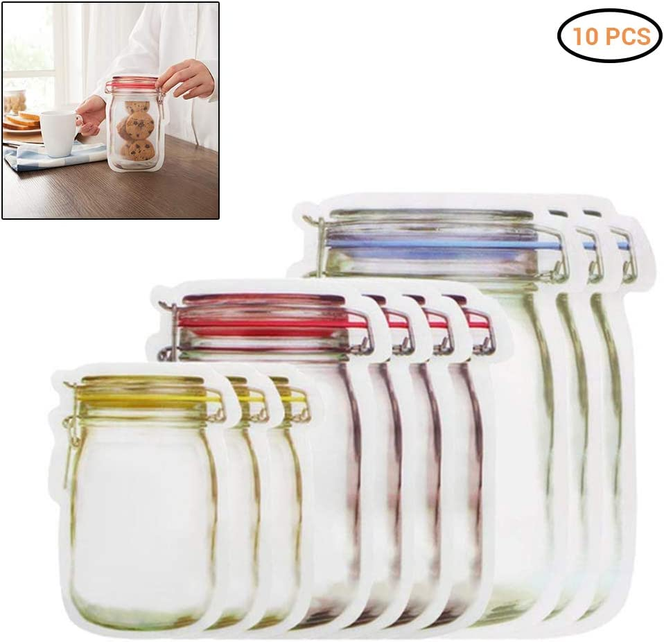 Faviye Bolsas Mason Jar Bolsas Mason Jar Bolsas de plástico con Cierre hermético Bolsas de Comida para bocadillos, nueces, Galletas