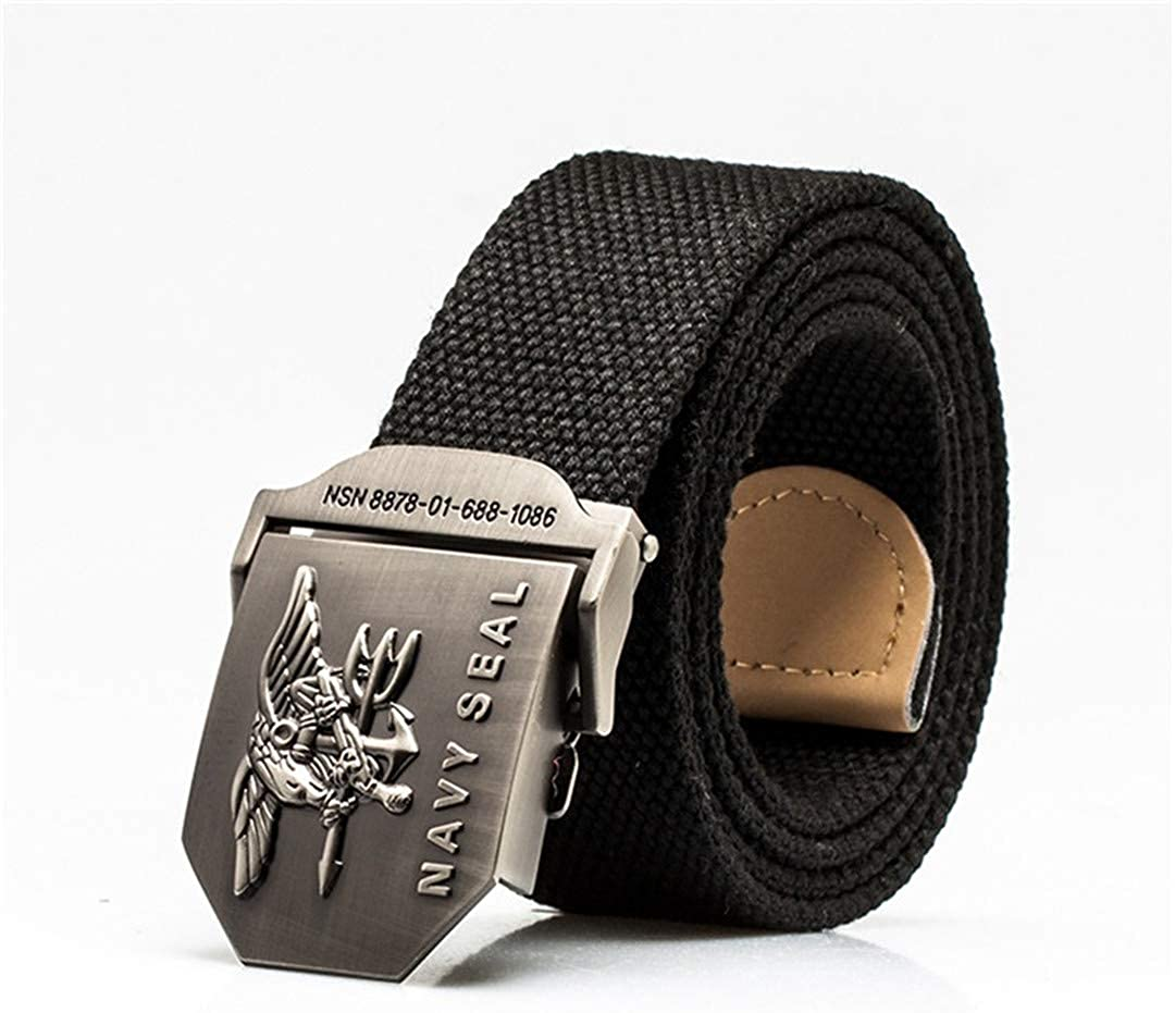 Mens Navy Seal Metal Smooth Buckle Striped Canvas Knit Strap Military Belts