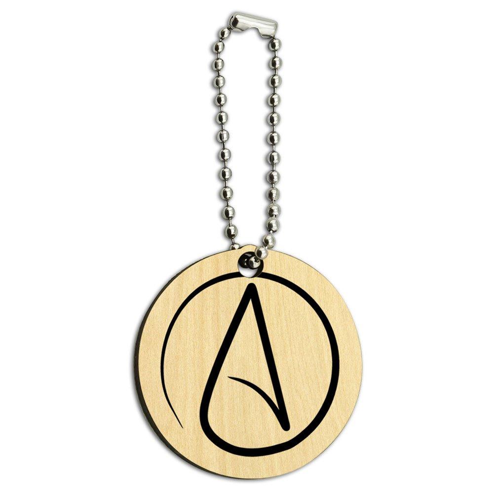 Atheism Atheist Symbol Wood Wooden Round Key Chain