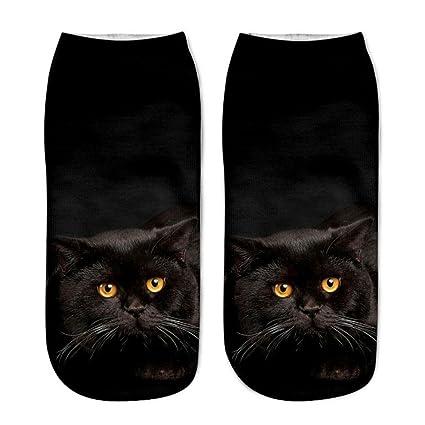 Calcetines Mujer Hombre, ❤ Amlaiworld Calcetines Cortos Unisex Populares Divertidos Calcetines Ocasionales Impresos Gato