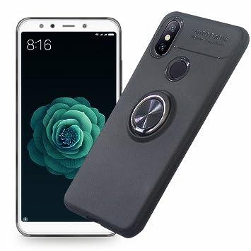 AhaSky Funda Xiaomi Mi A2 / Xiaomi Mi 6X, Carcasa con 360 Grados Anillo Kickstand Mi A2, Shock-Absorción Silicona Case para Xiaomi A2 - Negro