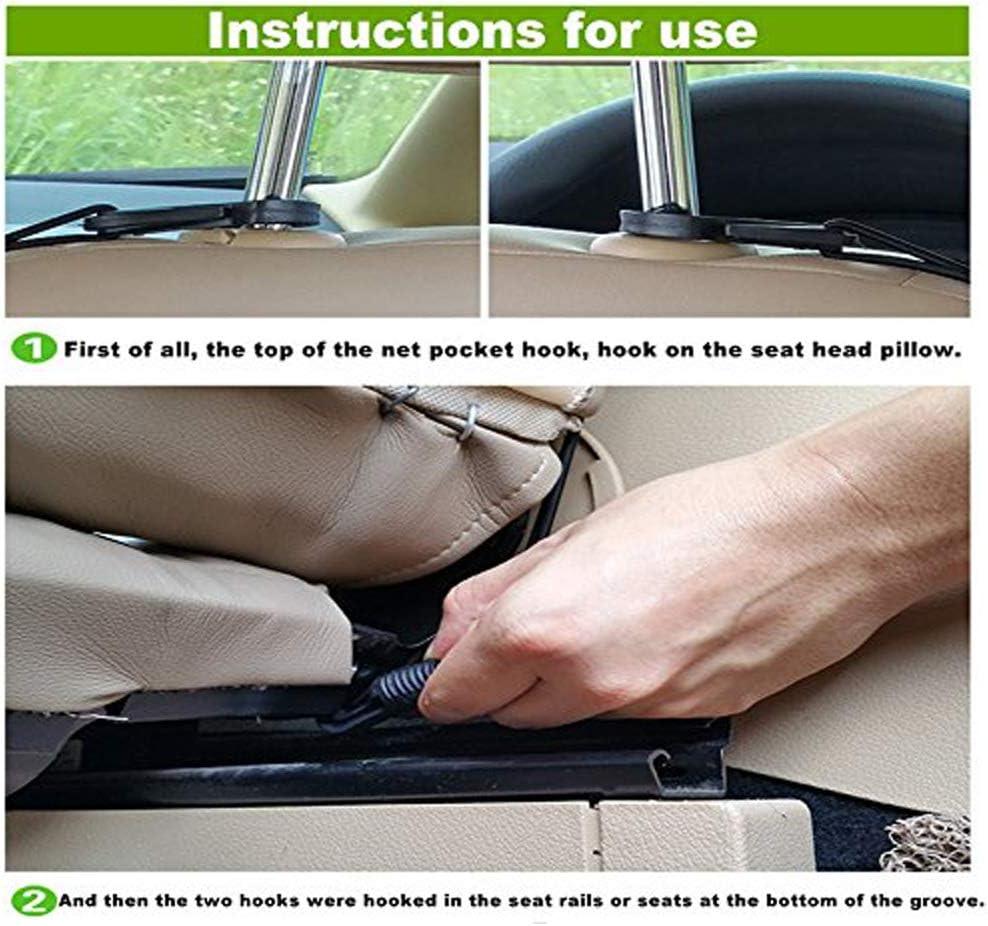 Mesh Wall Sticker Organizer Pouch Bag Black, 2 Pack Ronteix Car Trunk Net