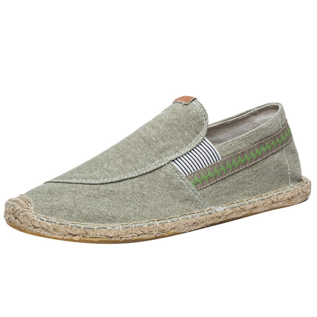 Women's Men's Espadrilles Loafers Flats Shoes Casual Canvas Breathable Slip-on Sneaker (US:8.5, Green)