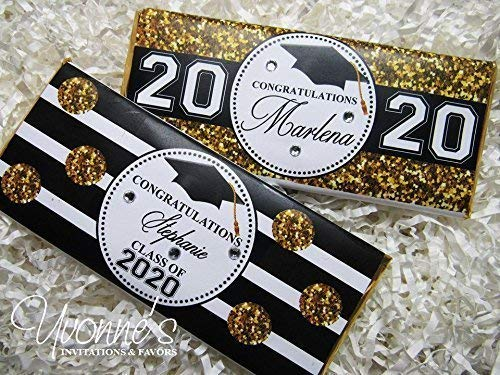 (Graduation Candy Bar Wrappers-Personalized Wrappers for Chocolate Bar Favors-Gold Bling Glitter (SET OF 12) **Chocolate Not Included**)
