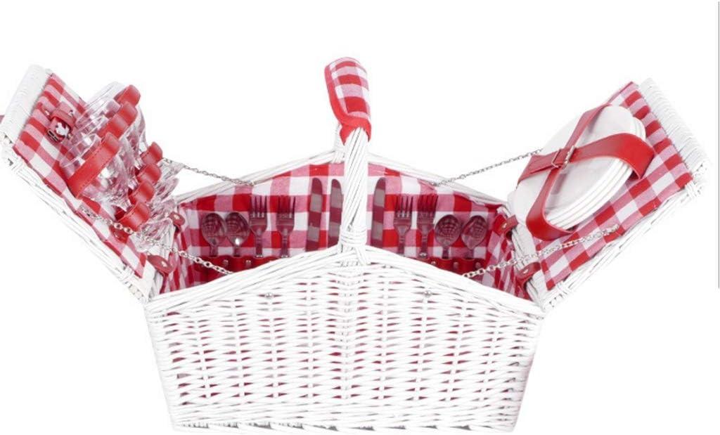 手織りの籐ピクニックバスケットふた付きダブルオープニングキャンプピクニックバスケット付きデラックス4人屋外ポータブル断熱材 (Color : White)