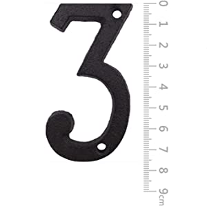 House Numbers- 3 Inch Innovative Wrought Iron Numbers- Vintage Nail on Die Cast Mailbox Numbers, Number 3