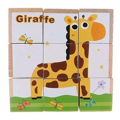 B Blesiya Juguete Montessori de Madera Rompecabezas de Cubo de Animales/Tráficos Juego para Desarrollo de Habilidad Motora de Niños - Elefante Azul: Juguetes y juegos