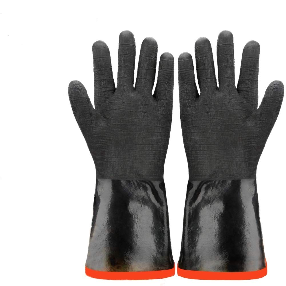 Zechzehn BBQ Gloves - Double Layer Heat Resistant Gloves for Handling Hot Food on Fryer, Grill, Smoker or Oven, Grill Gloves Fire Resistant for Cooking, Waterproof and Oil Resistant BBQ Mitts (14)