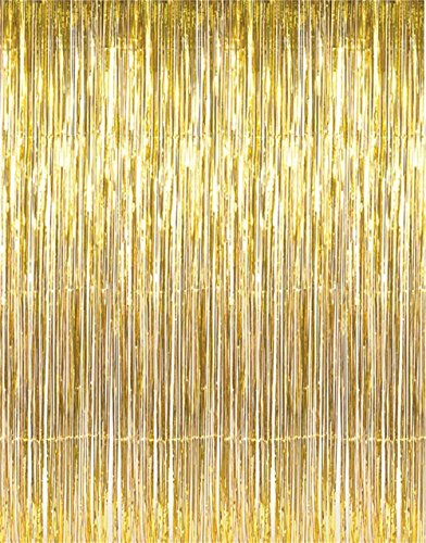 LECMARK 3 ft X 8 ft Gold Foil Fringe Tinsel Curtains Door Window Curtain Wedding Photography Backdrop Birthday Party Decoration (GOLD)