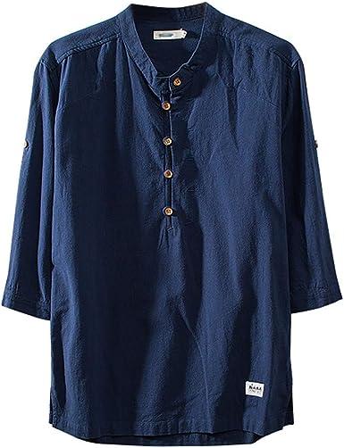 Camisetas Hombres Stand Neck Sabana de Algodon Cuello Alto Camisa Casual de Verano Manga Corta Tops de Camisa: Amazon.es: Ropa y accesorios