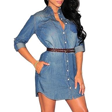 3529b3393dda hibote Damen Kleid Damen 3 4 Langarm Denim Kleider Mini Vintage Denim Jeans  Kleid mit Gürtel  Amazon.de  Bekleidung