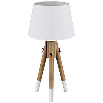 Stehlampe Stehleuchte Tripod E27 40W H49cm Tischlampe Tischleuchte Lampe In  2 Farben, Farbe:Weiß