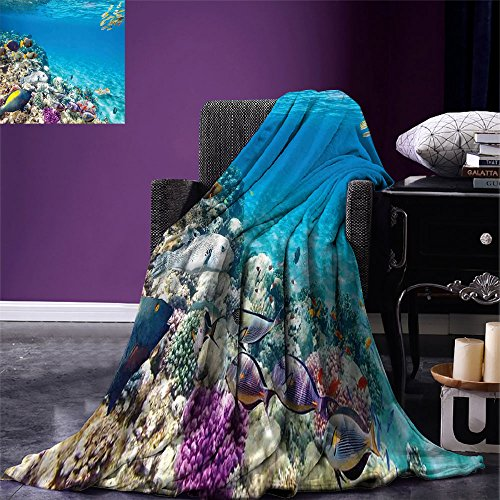 smallbeefly Ocean Lightweight Blanket Clear Underwater Sea Life Animal World Corals Tropical Fishes and Stingray Digital Printing Blanket Aqua Purple and Tan by smallbeefly