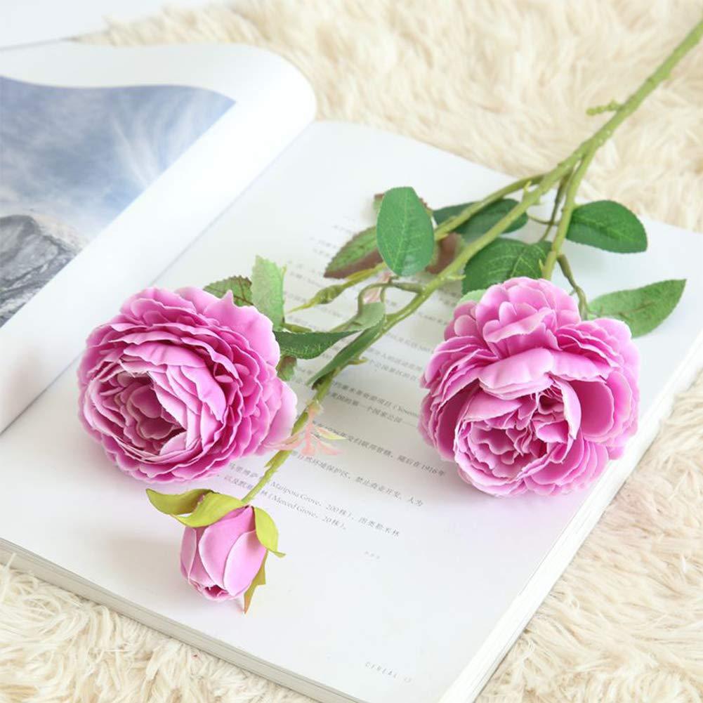 Amyove 造花 3頭 牡丹の花 ウェディングハウス 装飾 ロマンチックブーケ 1枝 パープル WL_MD_GS9 B07GDM4PL4 パープル