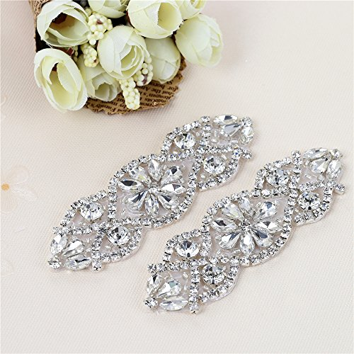XINFANGXIU (2PCS) Bridal Wedding Dress Sash Belt Applique with Crystals Rhinestones Beaded Dacorations Handcrafted Sparkle Elegant Thin Sewn or Hot Fix for Women Gown Evening Prom Clothes - Silver from XINFANGXIU