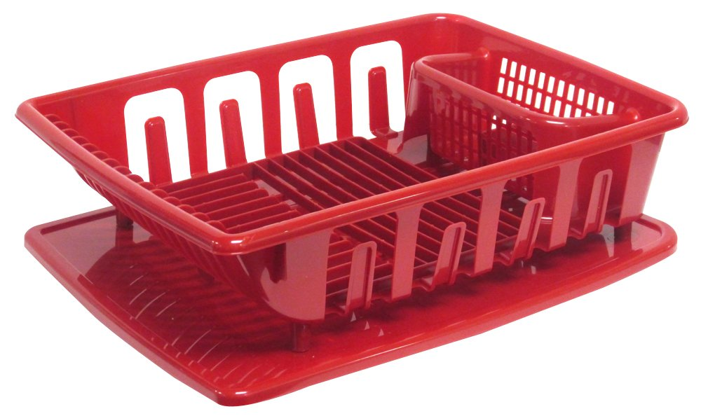 Amazon.com: United Solutions SK0124 2 Piece Sink Set Dish Drainer And  Drainboard, Red, Large: Home U0026 Kitchen
