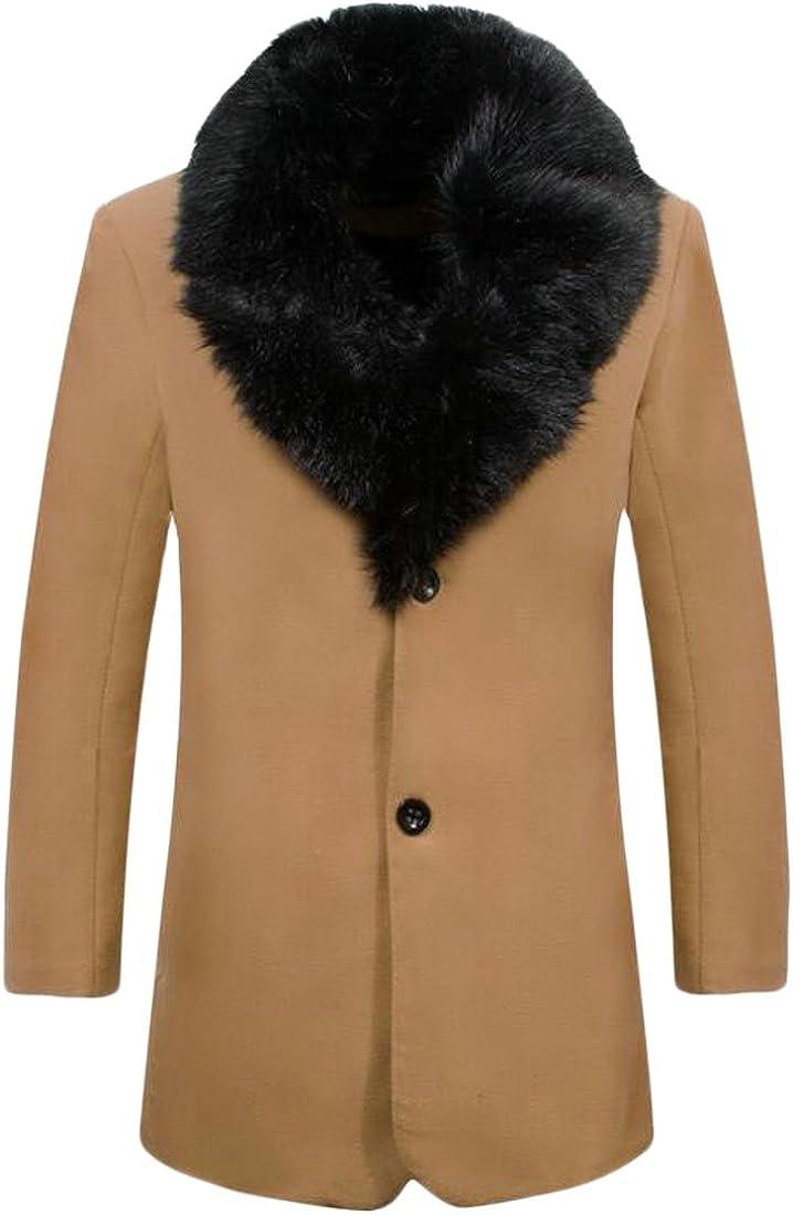 M/&S/&W Mens Business Winter Faux Fur Collar Wool Trench Pea Coat Overcoat