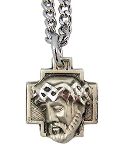 Amazon sterling silver crown of thorns christ head cross sterling silver crown of thorns christ head cross pendant 916 inch aloadofball Images