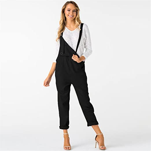 2c31847c5b Bluestercool Fashion Women Loose Dungarees Loose Long Pockets Rompers  Jumpsuit Pants Trousers Black  Amazon.co.uk  Clothing