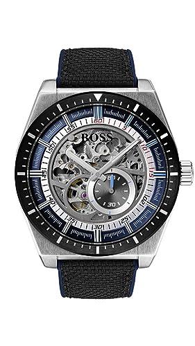 Hugo Boss Watch Reloj Esqueleto para Hombre de Automático con Correa en Cuero 1513643: Amazon.es: Relojes