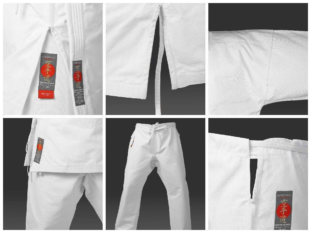 KO Karate Kids 10oz Tournament Japanese Kata Cut Gi Suit Uniform Free Belt
