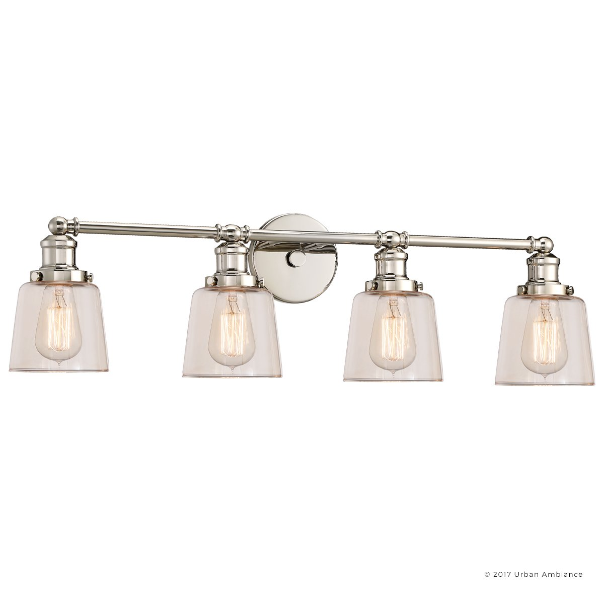 Luxury Industrial Chic Bathroom Vanity Light, Large Size: 9''H x 31.5''W, with Modern Style Elements, Nostalgic Design, Polished Nickel Finish and Light Champagne Glass, UQL2682 by Urban Ambiance