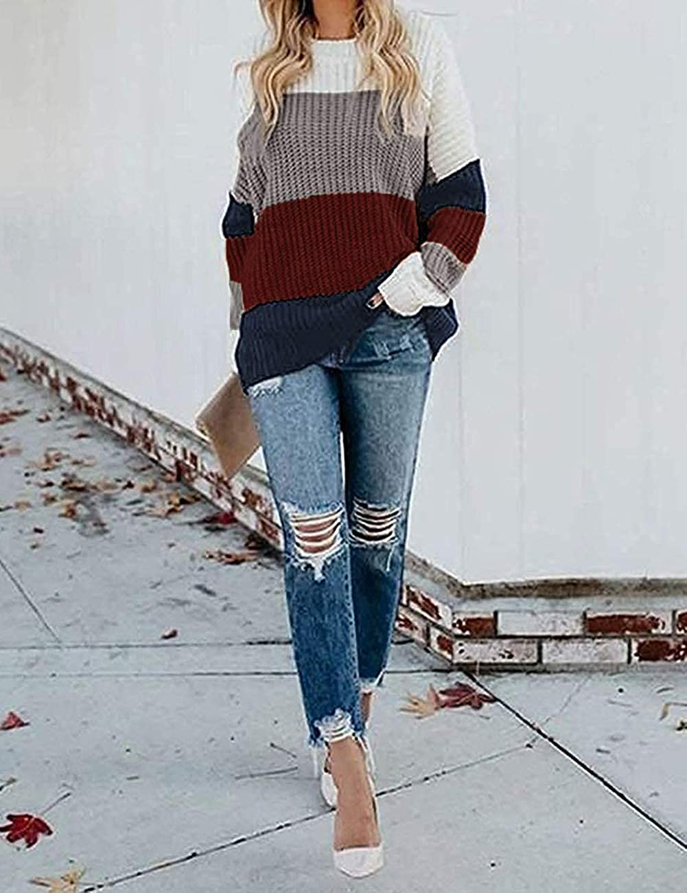 Chigant Womens Crew Neck Sweater Color Block Knit Sweater Casual Pullover Jumper Tops