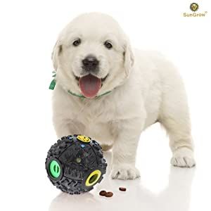 SunGrow Interactive Treat Dispenser Dog Toy - Food Puzzle Ball - for Mental & Physical Stimulation - Increases IQ, Boredom Buster - Produce Sound on Rolling - for Cats, Puppies, Small & Medium Pets