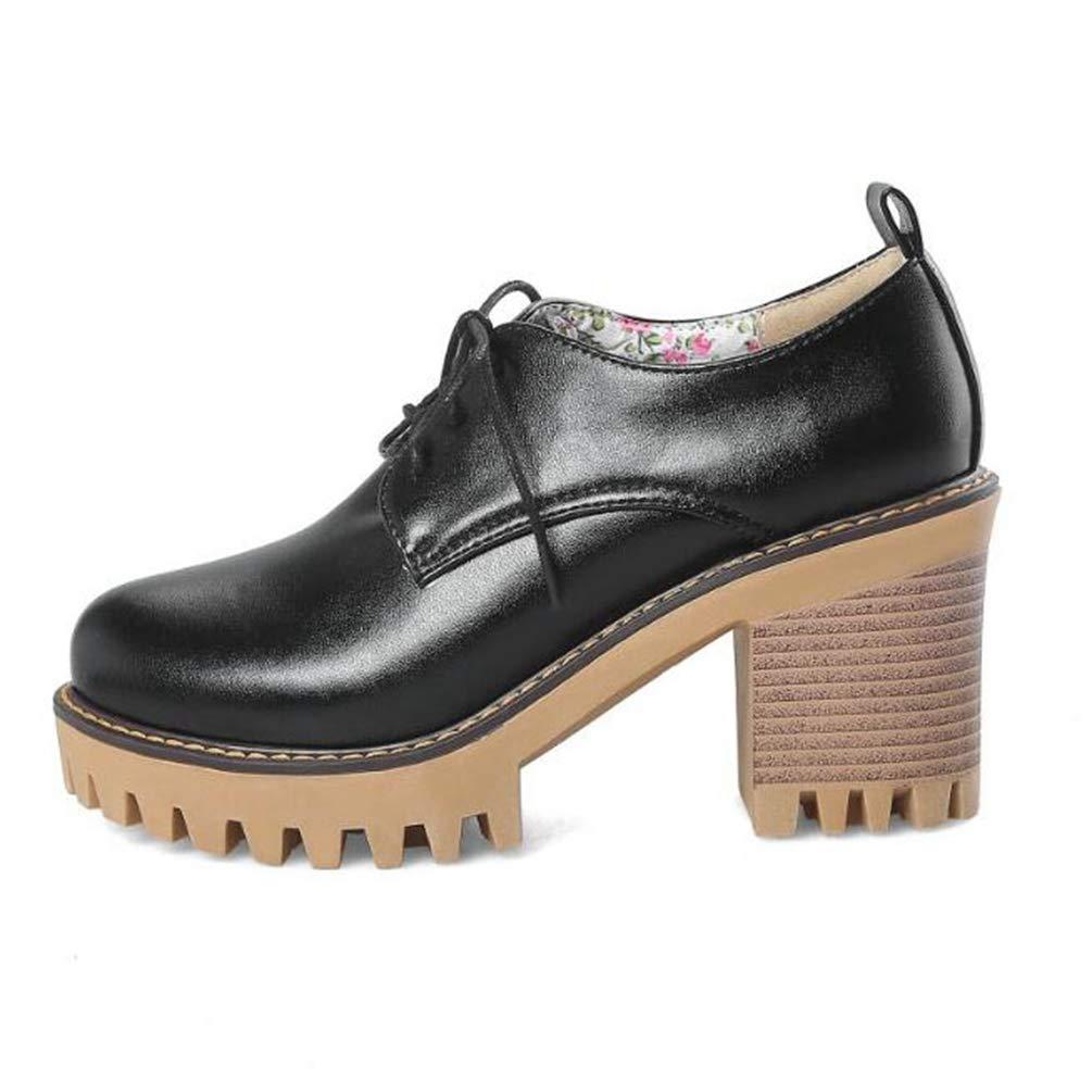 Zapatos de Plataforma de Mujer Zapatos Oxford de Estilo brit/ánico Zapatos de Cuero Suave de Primavera Zapatos Ocasionales de Las se/ñoras Retro Lace Up Heels Shoes