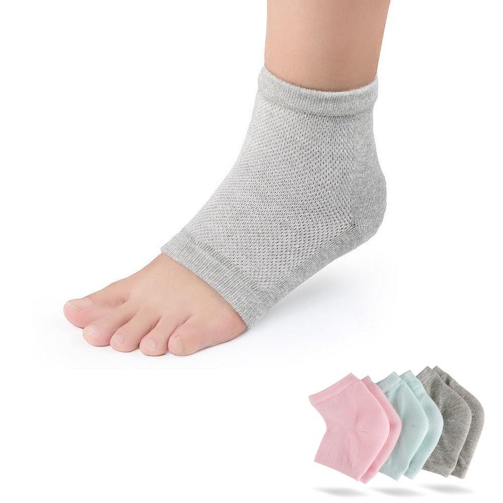 3 Pairs Moisturizing Gel Heel Socks Vented Unisex Toe Open Feet Care Dry Skin : Beauty