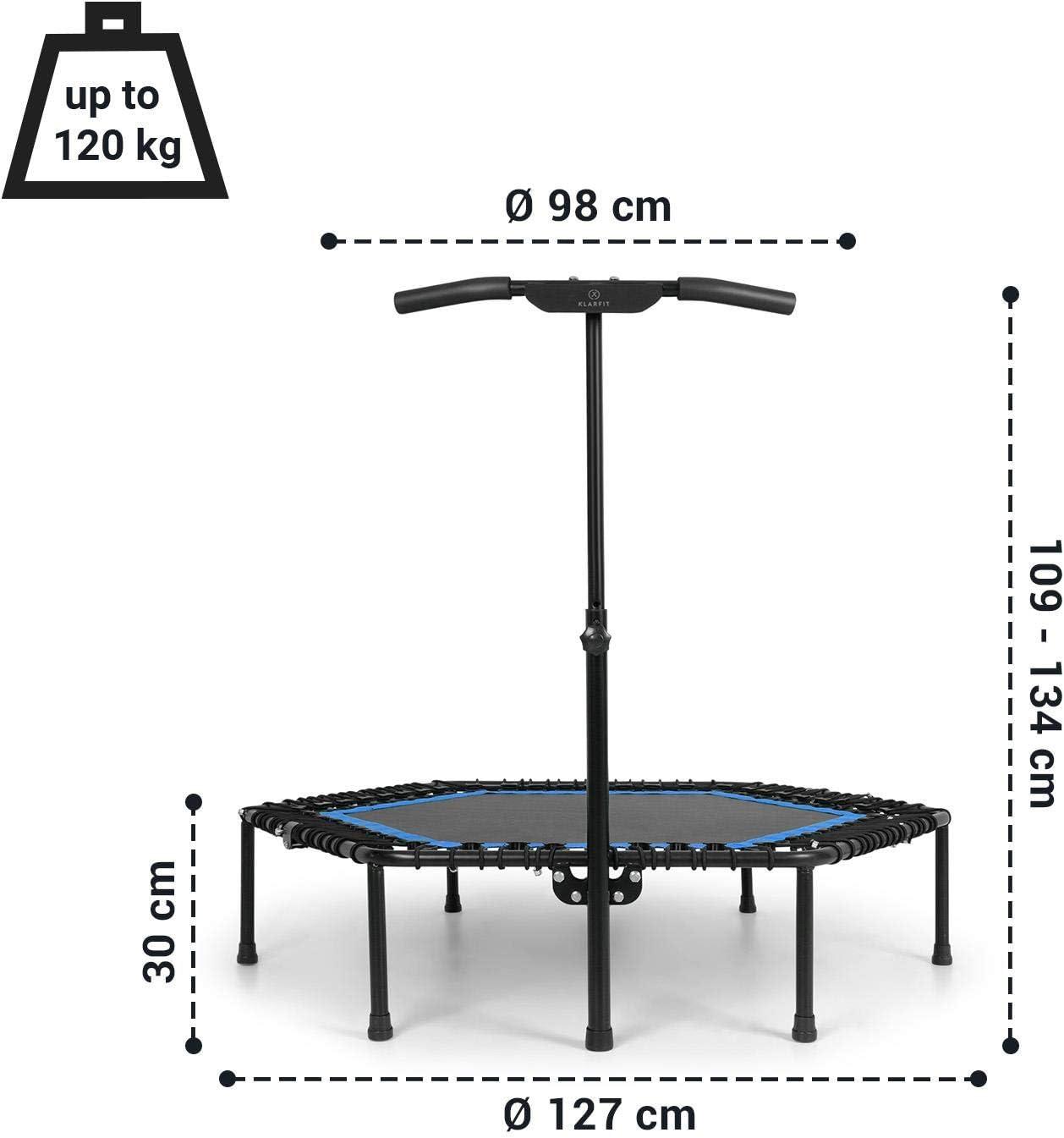 Poign/ée /à/6 Niveaux Une Seule Corde avec 48 tendeurs Charge Max KLAR FIT Klarfit Jumpanatic Pro Surface de Trampoline de /Ø 127 cm//de Saut de /Ø/ 98 cm de 120 kg Trampoline Fitness