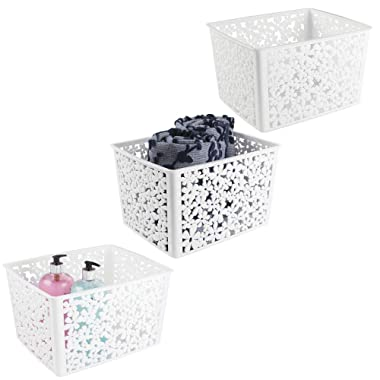mDesign Plastic Bathroom Storage Basket Bin for Organizing Hand Soaps, Body Wash, Shampoos, Lotion, Conditioners, Hand Towels, Hair Accessories, Body Spray - Large, Floral Design, 3 Pack - White