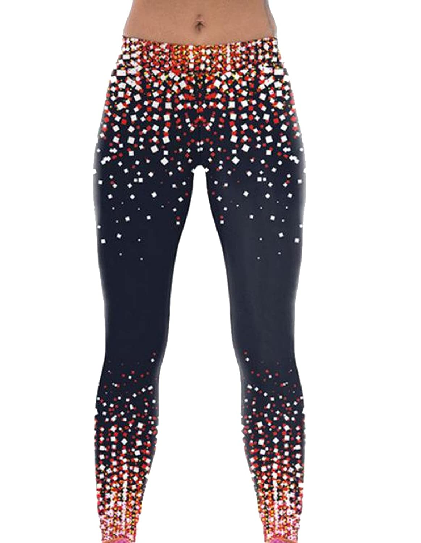 Abetteric Womens Sports Slim Print Hi-Waist Stretch Long Length Legging