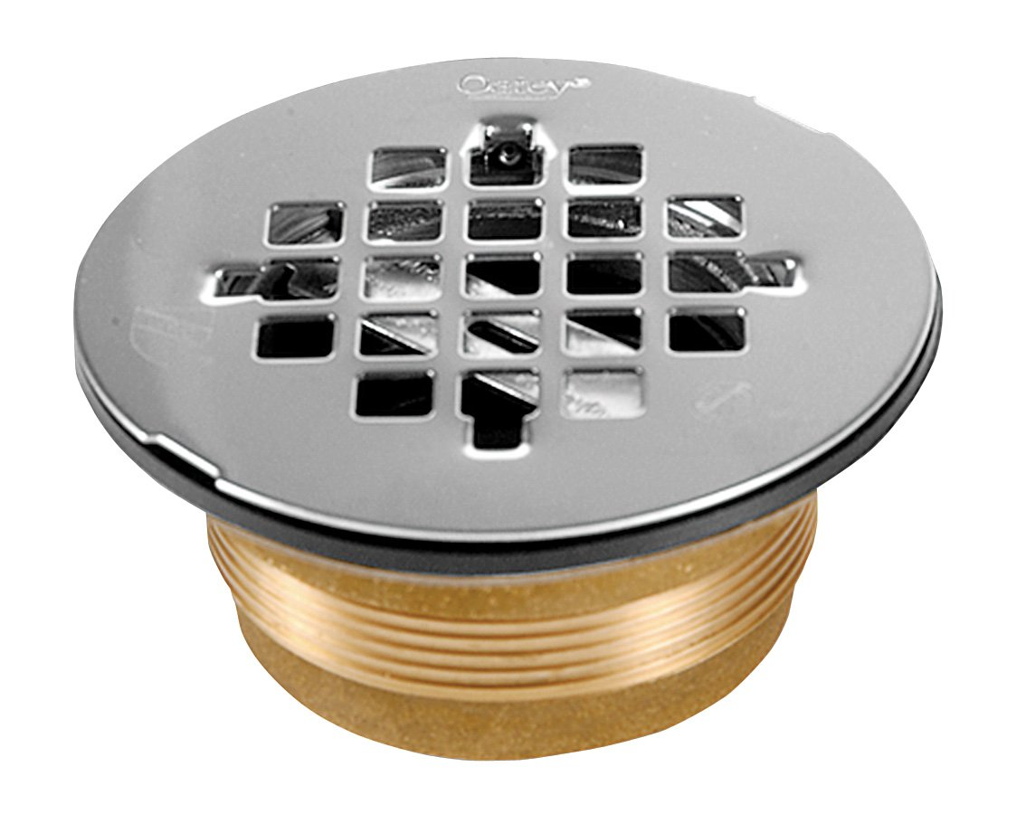 oatey 140 nc brass nocalk shower drain with stainless steel strainer 2inch bathroom sink and tub drain strainers amazoncom