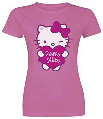 Hello Kitty Heart Girl Shirt Rosa S Amazon De Bekleidung
