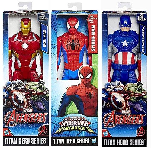 "Marvel Titan Hero Series Avengers Iron-Man VS Captain America Civil-War Characters + Spider-Man Sinister 6 Posable 12"" Action Figure Moveable Series"