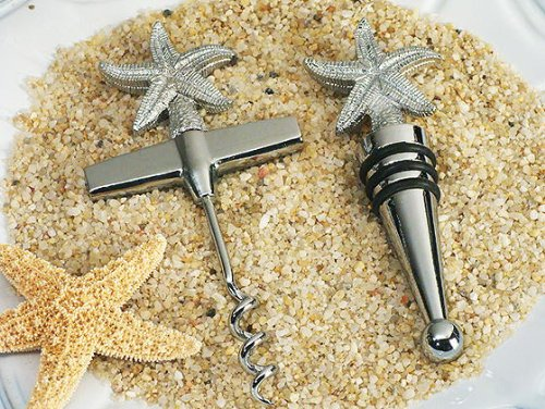 Beach Theme Starfish Wine Opener, Wine Stopper Set C1437 Quantity of 1 (Wine Theme Gifts)
