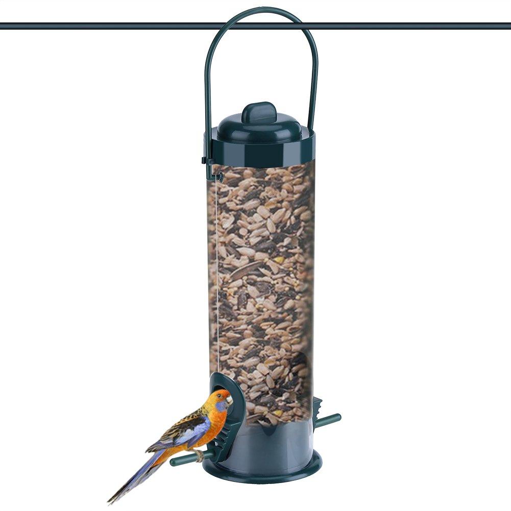 Dewin Comederos para pájaros - Alimentador de pájaros Silvestres Colgantes Transparentes de plástico para jardín al Aire Libre, Almacenamiento de contenedores de Semillas, 1 Piezas