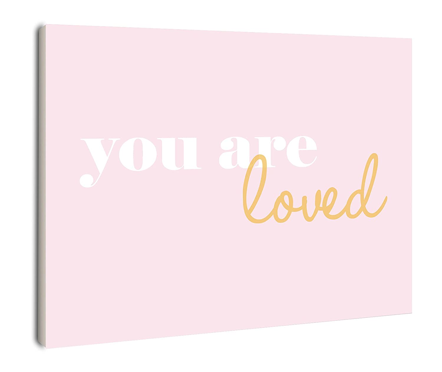 The Kids Room by Stupell You Are Loved On Pink Background Rectangle Wall Plaque, 11 x 0.5 x 15, Proudly Made in USA brp-1601