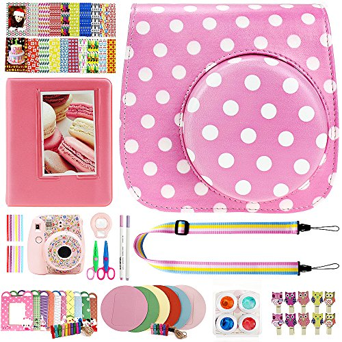 Elvam 12 in 1 Camera Accessory Bundles Set for Fujifilm Instax Mini 8 – Pink Polka Dots (Mini 8 Case/Camera Strap/Album/Film Frames/Stickers/Border Stickers/Lens/Filter/Owl Clip/Pens/Scissors)