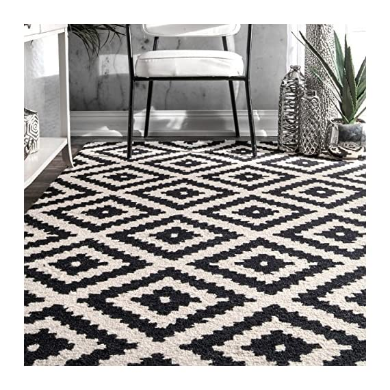 """nuLOOM Kellee Contemporary Wool Runner Rug, 2' 6"""" x 8', Black - Features a geometric design Construction: machine made Material is 100% polypropylene Frisee - runner-rugs, entryway-furniture-decor, entryway-laundry-room - 61ao58TPDeL. SS570  -"""
