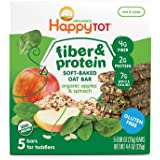 Happy Tot Organic Fiber & Protein Soft-Baked Oat Bars Organic Toddler Snack Apple & Spinach, 5 Count 0.88 Ounce Bars (Pack of 6) (Packaging May Vary)
