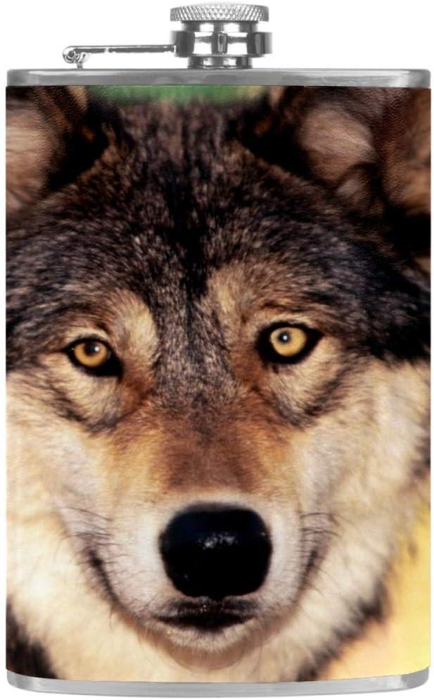 Lobo Animal Marrón Claro Frasco de la cadera 8 oz con un ...