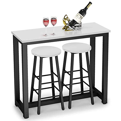 Tribesigns 3-Piece Pub Table Set, Counter Height Breakfast Bar Dining Table with Stools Set for Kitchen, Dining Room, Living Room, Small Space White