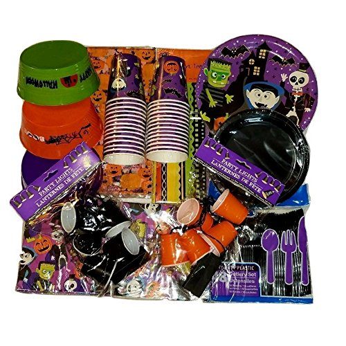 Halloween Home, Classroom or Event Party Bundle, Pumpkin and Vampire Cups, Small Treat Buckets, Table Cloth, Napkins, Utensils, Whimsical Plates and Decoration (Halloween Snack Ideas For Classroom Party)