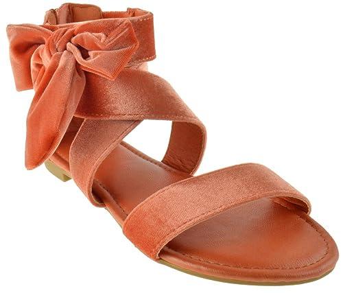 b445b2cb5 Magical 27M Womens Printed Side Bow Flat Sandal Orange Velvet 5.5