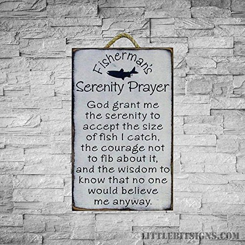 (Wood Plaque Fisherman's Serenity Prayer, Made To Order, Fishing Sign, 12x18, Hand Painted, Angler Sign, Fishing Prayers, Cabin Signs, Man Cave 11.25